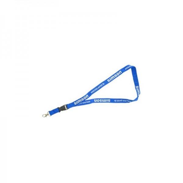 Schlüsselband mit Kindersicherung und Karabinerhaken, hellblau Aufdruck weiß