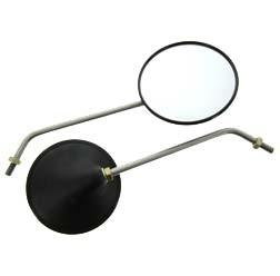 1 Paar Rückblickspiegel, Muschelform Ø122mm, Spiegelarm Edelstahl für MZ ETZ 150 - 301