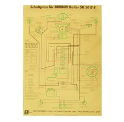 Schaltplan,Farbposter für SR50 B4 - 6V-Version