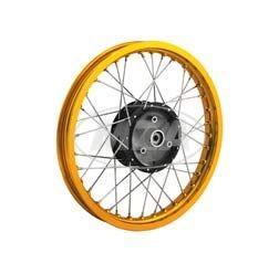 Speichenrad 1,5x16 Zoll - Alufelge GOLD + Edelstahlspeichen - schwarze Radnabe für S50, S51, S70