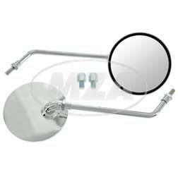 Paar Rückblickspiegel Ø105 mm, chrom Gewinde M8 / M10 mit Adapter