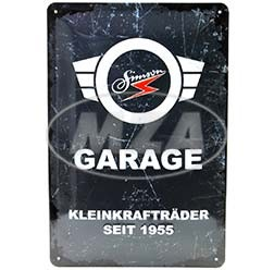 SIMSON Garage Blechprägeschild 20x30 cm, grau/weiß