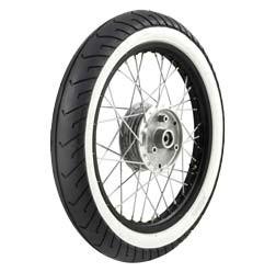 Komplettrad VORNE 1,5x16 Alufelge schwarz, poliert, Weißwandreifen für SR4-2, KR51, S50, S51