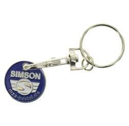 Simson Schlüsselanhänger, Einkaufwagenchip aus Metall mit Logo, beidseitig geprägt