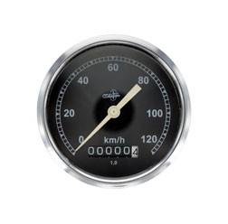 Tachometer BK350 - (Wegdrehzahl 1) - BS 80/120 - DIN 75521 - Gehäuse verchromt, Tachoglas gewölbt