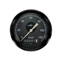 Tachometer BK350 - (Wegdrehzahl 1) - BS 80/120 - DIN 75521 - schwarzes Gehäuse, Tachoglas gewölbt