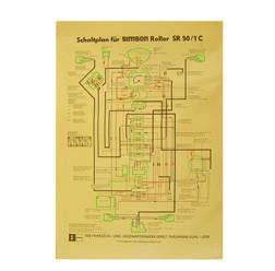 Schaltplan, Farbposter für SR50/1 C (12V, ohne E-Start)