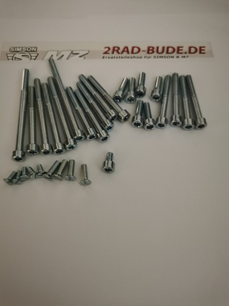 Normteile-Set für Motor mit Innensechskant 31 teilig für MZ ES125/1, ES150/1, ETS125/1, TS125, TS150