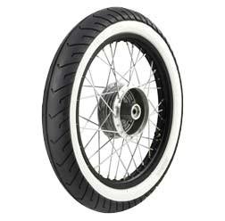 Komplettrad HINTEN 1,5x16 Alufelge schwarz, poliert, Weißwandreifen für SR4-2, KR51, S50, S51