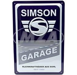 SIMSON-Garage Blechprägeschild 20x30 cm, blau/weiß