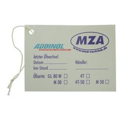 ADDINOL - MZA Ölwechselaufkleber für Moped / Motorrad, sehr elastisch, gut auf Rundungen anzubringe