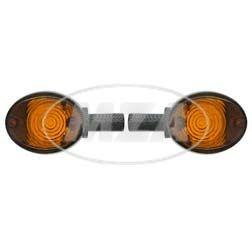 Lenkerblinkleuchte Carboneffekt + oranges Glas für Simson KR51/1, KR51/2, SR4-2, SR4-3, SR4-4, MZ ES