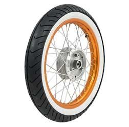 Komplettrad VORNE 1,5x16 Zoll Alufelge orange, Chromspeichen, Weißwandreifen für Simson S51, KR51