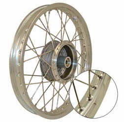 Speichenrad 1,5x16 Zoll Alufelge poliert + Edelstahlspeichen für Simson KR51, S50, S51, S70