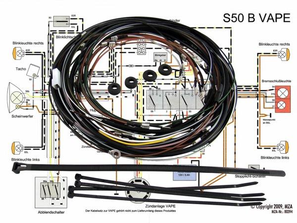 kabelbaumset inkl schaltplan f r simson s50 b mit 12v. Black Bedroom Furniture Sets. Home Design Ideas