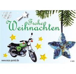 Postkarte Frohe Weihnachten mit Simson S51 Motiv