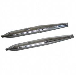 Auspuff dreiteilig in Zigarrenform, links+rechts, verchromt - (MZA 35680+35681) für ES-Doppelport