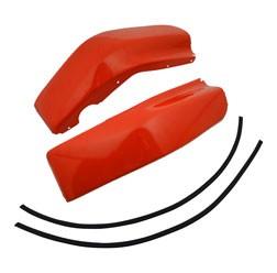 SET Beinschutz - rechts + links - mit 2x Keder - verkehrsrot pulverbeschichtet - SR50, SR80 - verzin