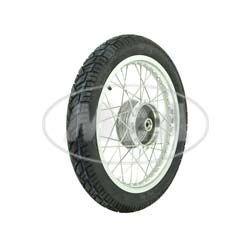 Komplettrad Hinten 1,5x16 Alufelge poliert, Edelstahlspeichen, mit Reifen für Simson KR51/1, SR4-3