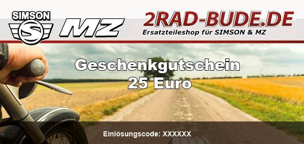 2Rad-Bude Geschenk Gutschein über 25€
