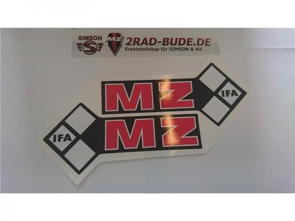 """Folienschriftzug """" IFA MZ """" linke + rechte Seite Tank, schwarz-rot-weiß mit schwarzem Rand"""