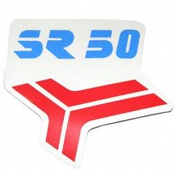 1 Stück Klebefolie für Beinblech, Knieschutzblech rot/blau Aufdruck: SR50