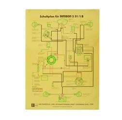 Schaltplan, Farbposter für Simson S51/1 B 12V-Version