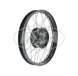 Speichenrad 1,5x16 Zoll Alufelge schwarz + Edelstahlspeichen + Tuning Radnabe schwarz für Simson