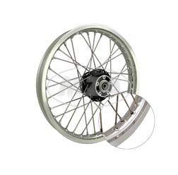 Speichenrad, 1,5x16 Zoll für Scheibenbremse Nabe schwarz, Alu-Felge, Edelstahlspeichen für Simson