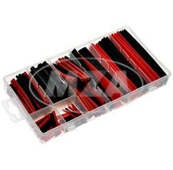 Set Schrumpfschlauch, rot/ schwarz, 150-tlg.