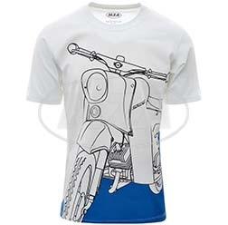 Simson Schwalbe auf Olympiablau T-Shirt, Farbe: weiß, Größe: XL