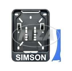 Wechsel Kennzeichenhalterung, schwarz mit Simson Aufdruck 168x122 mm