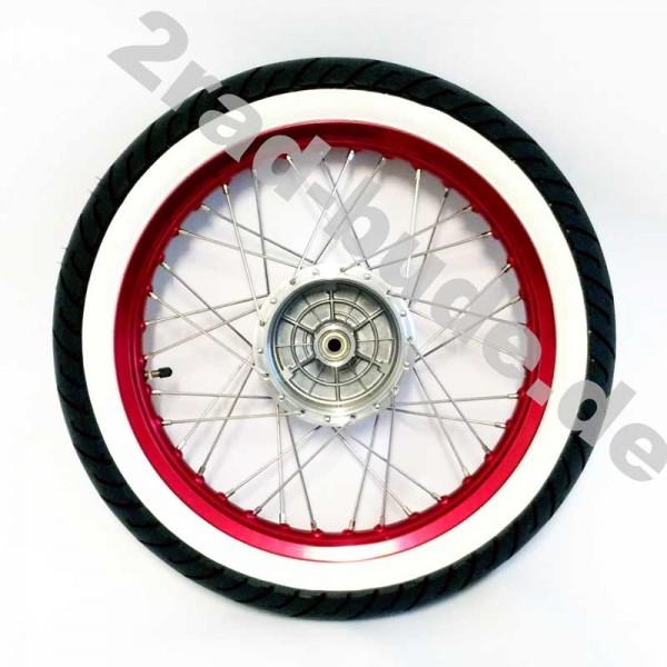 Komplettrad VORNE 1,6x16 Zoll Alufelge rot eloxiert, Edelstahlspeichen, Weißwandreifen für Simson